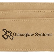 GFT197 Light Brown Leatherette Money Clip & Card Holder