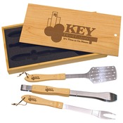 BBQ01  Bamboo BBQ Gift Set With Slide-Off Lid & Tools