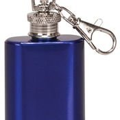FSK104  1 oz. Gloss Blue Stainless Steel Flask Keychain