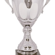 "CMC703S - 14"" Silver Completed Metal Cup Trophy on Plastic Base"