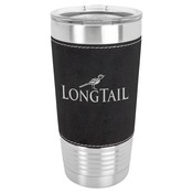 LTM5203 - 20 oz. Black & Silver Laserable Leatherette Polar Camel Tumbler with Clear Lid
