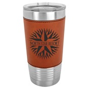 LTM5204 - 20 oz. Rawhide Laserable Leatherette Polar Camel Tumbler with Clear Lid