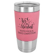 LTM5207 - 20 oz. Pink Laserable Leatherette Polar Camel Tumbler with Clear Lid