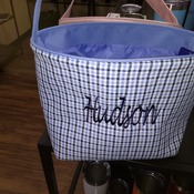Easterbasket02-2 Light Blue and Dark Blue Plaid with Embroider Image and Name