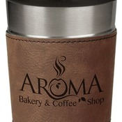 LTM046 16 oz. Dark Brown Leatherette Stainless Steel Travel Mug