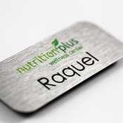 Aluminum name tag, full color, with logo