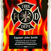 HER101  Firefighter HERO Plaque with Vertical Flames