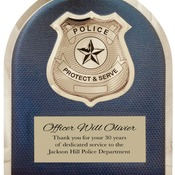 HER103  Police HERO Plaque with Chrome Badge