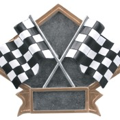 "DPS20   8 1/2"" x 6"" Racing Crossed Flags Diamond Plate Resin"