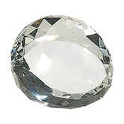 CRY65  Premier Crystal Round Faceted Paperweight