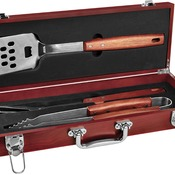 BBQ03A  Rosewood Finish BBQ Set with 3 Tools