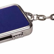 MEM008BU  4GB Blue Metal USB Flash Drive Keychain