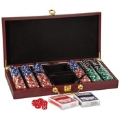 PKR02  Rosewood Finish 300 Chip Poker Set PKR02