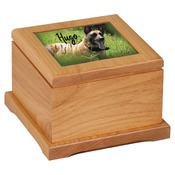 "URN12  4 1/2"" Tall Red Alder Pet Urn (Accepts 4 1/2"" x 4 1/2"" Tile)"