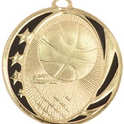 "MS702G - 2"" Bright Gold Basketball Laserable MidNite Star Medal"
