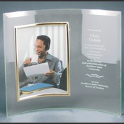 "CE6505 - 11"" x 8"" Jade Glass Crescent with 4"" x 6"" Picture Frame"