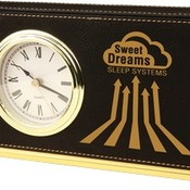 LLC302  Black Leatherette Horizontal Desk Clock
