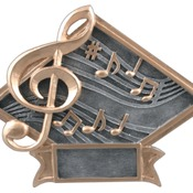 "DPS19  6"" X 4-1/2"" Diamond Plate Resin Large Music Trophy"