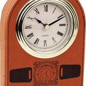 LLC401  Rawhide Leatherette Arch Desk Clock